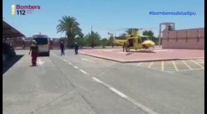 Un helicóptero rescata a un hombre de 32 años tras sufrir una caída en la Rambla Salada de Albatera