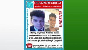 Familiares y amigos del joven desaparecido convocan una concentración en el Ayuntamiento de Orihuela