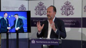 El alcalde de Orihuela solicita en Bruselas ayudas por la gota fría