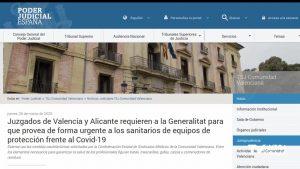 Los juzgados requieren a Generalitat que provean a los sanitarios de equipos de protección