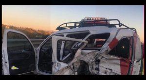 Un hombre herido en la cabeza y atrapado en su vehículo tras un accidente en la AP-7