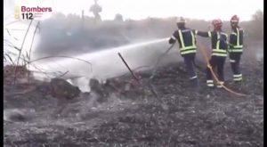 Bomberos de toda la provincia sofocan un incendio declarado de madrugada entre San Isidro y Albatera