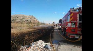 Un incendio de cañar y vegetación en Granja obliga a utilizar medios aéreos