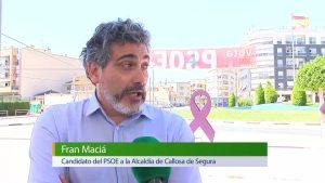 Una pancarta del PSOE callosino «crucificada»
