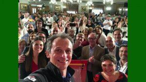 Pedro Duque y José Guirao en el mitin del PSOE en Dolores