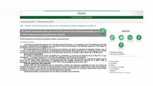 El 41% del personal de Sanidad contagiado por el COVID-19 pertenece a la provincia de Alicante