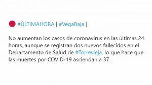 La Vega Baja no registra ningún caso de coronavirus en 24 horas