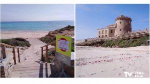 Las playas de Pilar de la Horadada continúan cerradas para el paseo