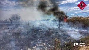 Incendio de matorral y cañas en la huerta de Rojales