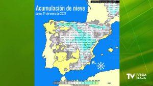Algunos mapas de previsiones apuntan probabilidad de nieve en la Vega Baja