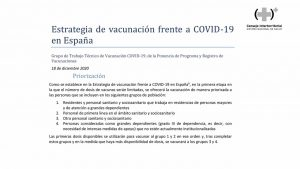 El orden de vacunación: primero las residencias; luego, personal sanitario de primera línea