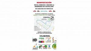 Caravana de vehículos para manifestarse contra la ley del plurilingüismo en Pilar de la Horadada