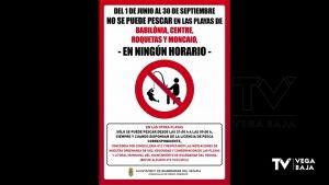 Guardamar recuerda que está prohibida la pesca en cuatro de sus playas durante el verano