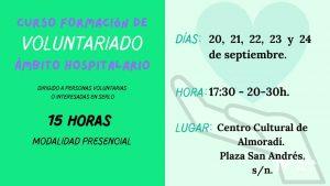 La asociación Praxis Vega Baja desarrolla en Almoradí un Curso de de Voluntariado Sociosanitario