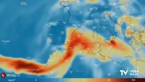 Pendientes de la llegada del dióxido de azufre a la Península Ibérica desde La Palma